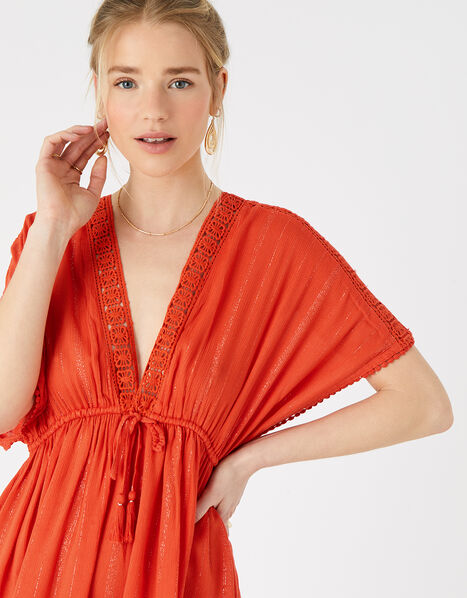 Lurex Kaftan with LENZING™ ECOVERO™ Red, Red (RED), large
