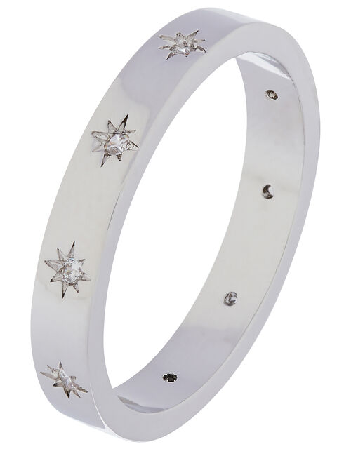 Platinum-Plated Sparkle Star Band Ring, Silver (SILVER), large