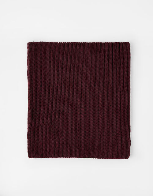 Chunky Knit Snood , Red (BURGUNDY), large