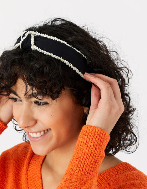 Monochrome Beaded Headband, , large