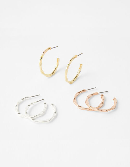 Mixed Metal Twist Hoop Earring Set, , large