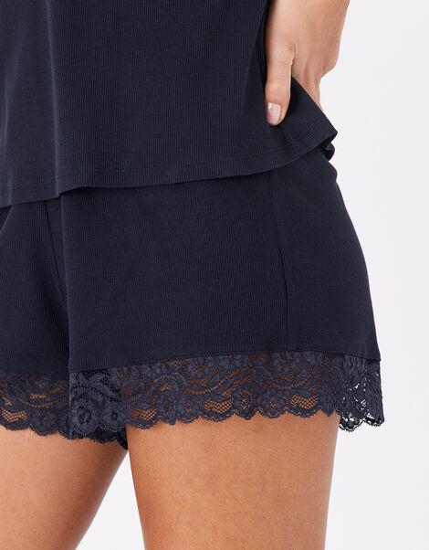 Lace Trim Rib Vest and Shorts Set Blue, Blue (NAVY), large