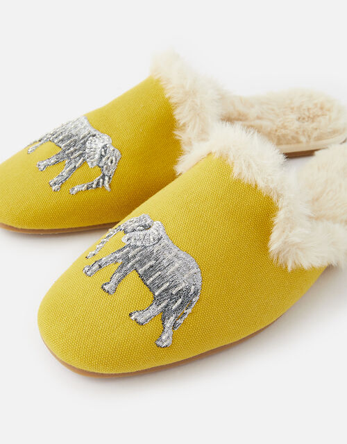Elephant Fluffy Slippers, Yellow (YELLOW), large