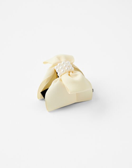 Pearly Bow Bulldog Clip, Cream (CREAM), large