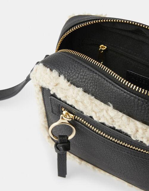 Shearling Trim Cross-Body Bag, , large
