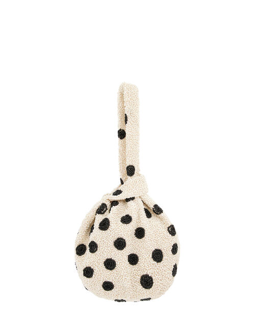 Polka Dot Beaded Duffle Bag, White (WHITE), large