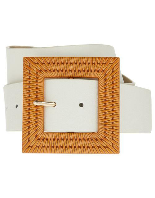 Bamboo Square Buckle Waist Belt, Nude (NUDE), large