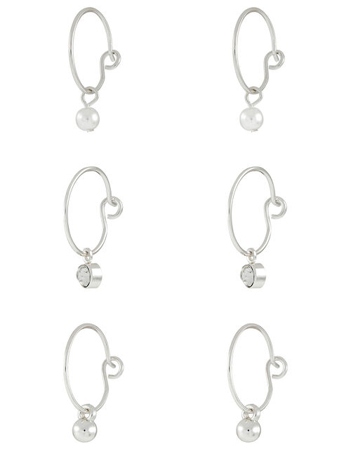 Ball and Crystal Charm Hoop Earring Set, , large