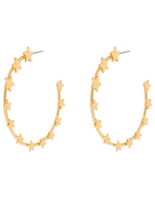 Star Hoop Earrings, , large