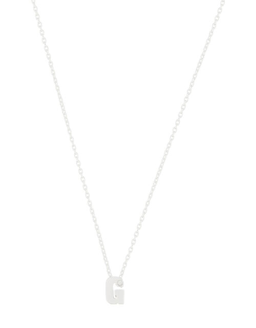 Sterling Silver Sparkle Initial Necklace - G, , large