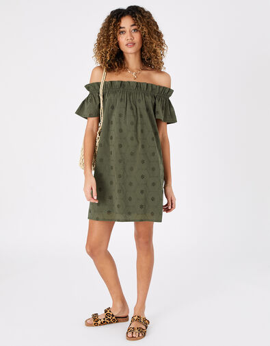 Schiffly Bardot Dress in Organic Cotton Green, Green (KHAKI), large