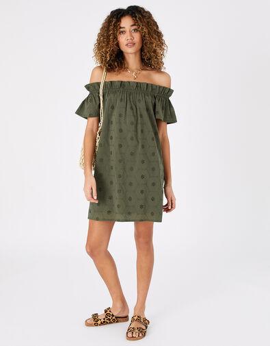 Schiffly Bardot Dress in Organic Cotton Green, Green (KHAKI), large