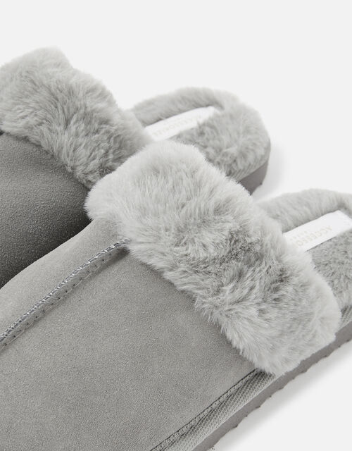 Suede Mule Slippers, Grey (GREY), large