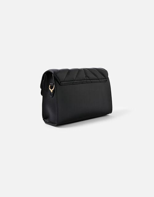 Annie Quilted Shoulder Bag, Black (BLACK), large