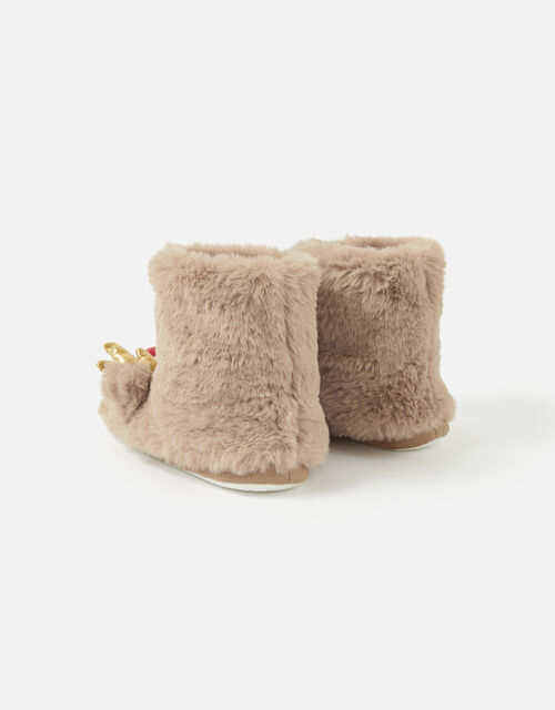 Girls Rudolph Fluffy Boot Slippers, Brown (BROWN), large