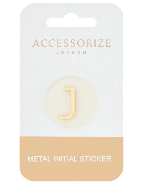 Metallic Initial Sticker - J, , large