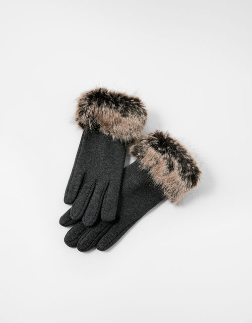Faux Fur Cuff Touchscreen Gloves, Grey (GREY), large