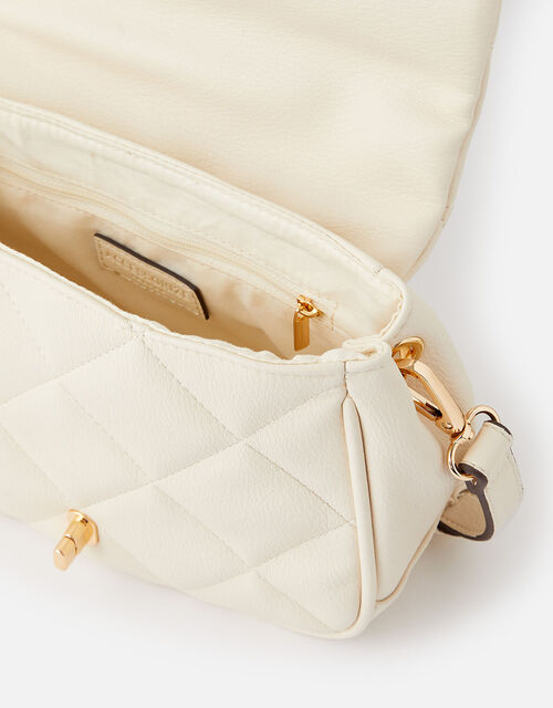 Alani Quilted Cross-Body Bag, Cream (CREAM), large