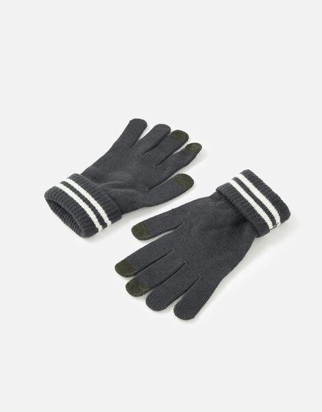 Varsity Stripe Touchscreen Gloves Grey, Grey (CHARCOAL), large