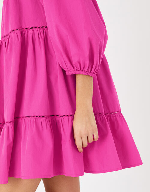 Puff Sleeve Poplin Dress, Pink (PINK), large