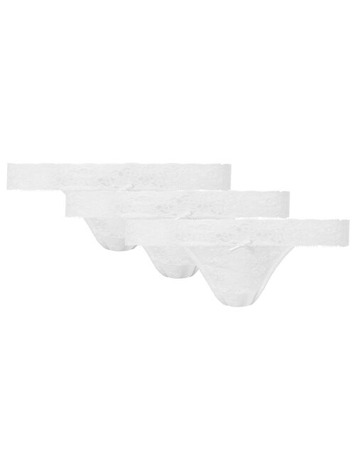 Halenka Lace Thong Multipack, White (WHITE), large