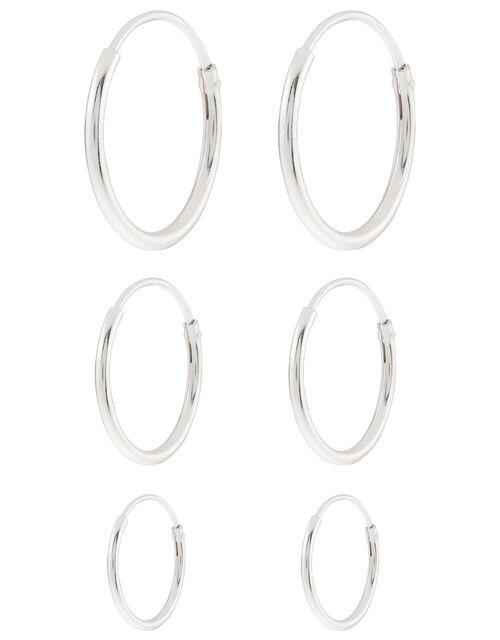 Sterling Silver Plain Hoop Earring Set, , large