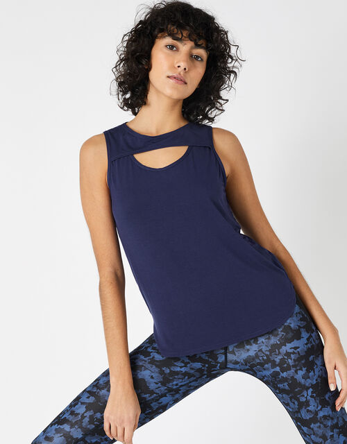 Cut-Out Vest Top, Blue (NAVY), large