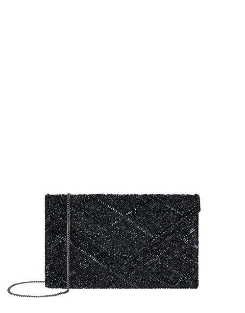 Tabitha Embellished Clutch Bag, Black (BLACK), large
