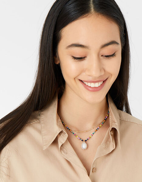 Island Vibes Ditsy Pearl Seedbead Necklace, , large