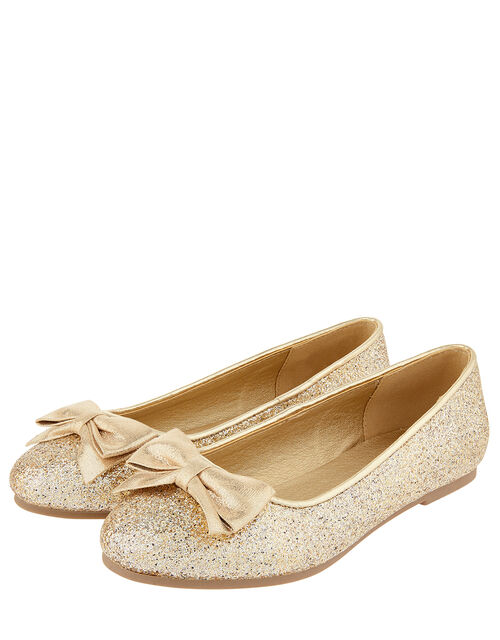 Shimmer Bow Ballerina Shoes, Gold (GOLD), large