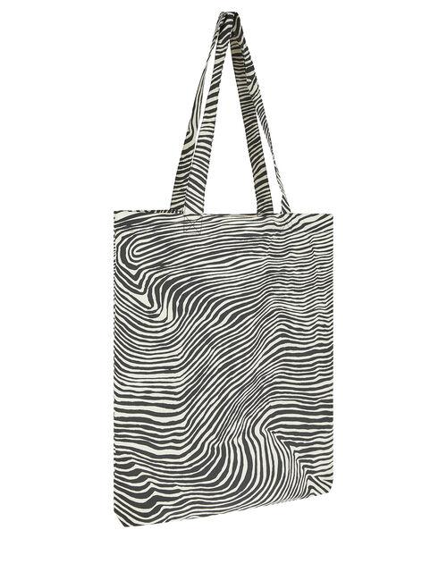 Zebra Shopper Bag, Black (BLACK/WHITE), large