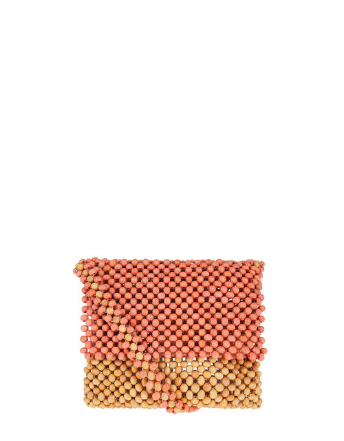 Wooden Bead Cross-Body Bag, Orange (CORAL), large