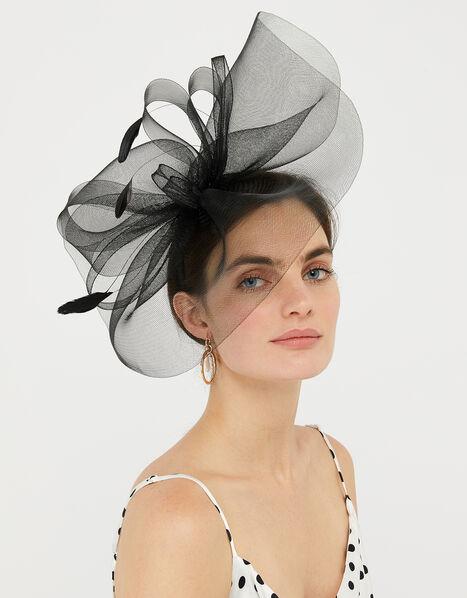 Rhea Oversized Bow Fascinator Headband Black, Black (BLACK), large