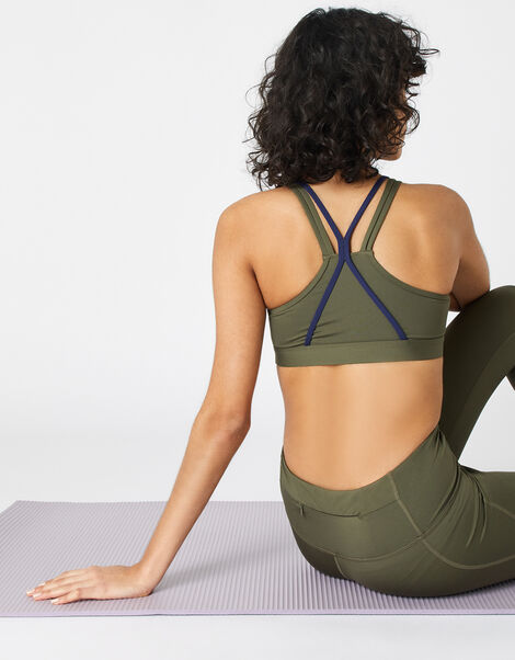 Multi-Strap Yoga Crop Top Green, Green (KHAKI), large