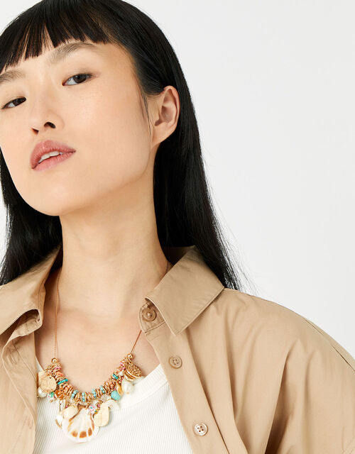 Island Vibes Charmy Shell Collar Necklace , , large