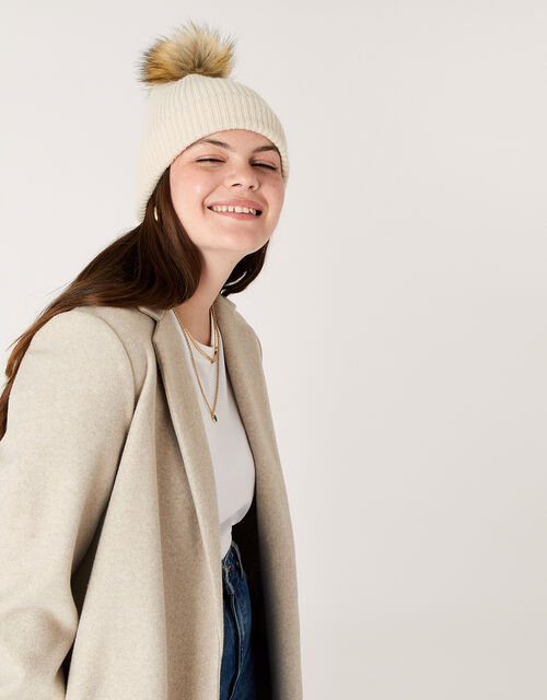 Knit Pom-Pom Beanie with Recycled Fabric, , large