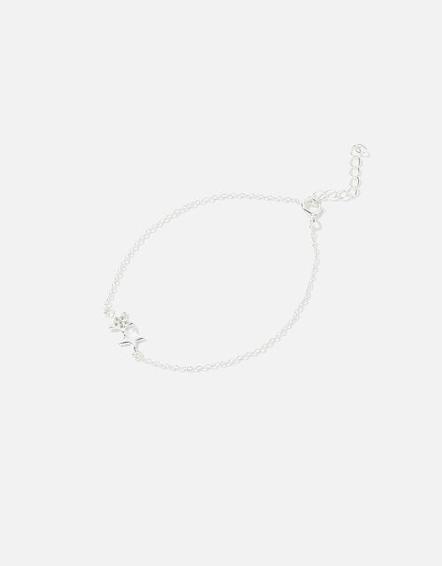 Sterling Silver Double Star Bracelet, , large