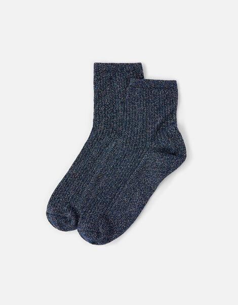 Sparkle Ribbed Ankle Socks, , large