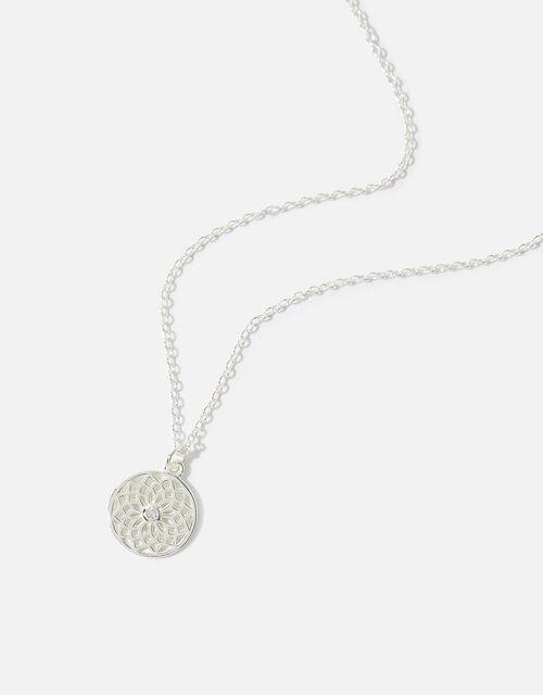 Sterling Silver Filigree Pendant Necklace, , large