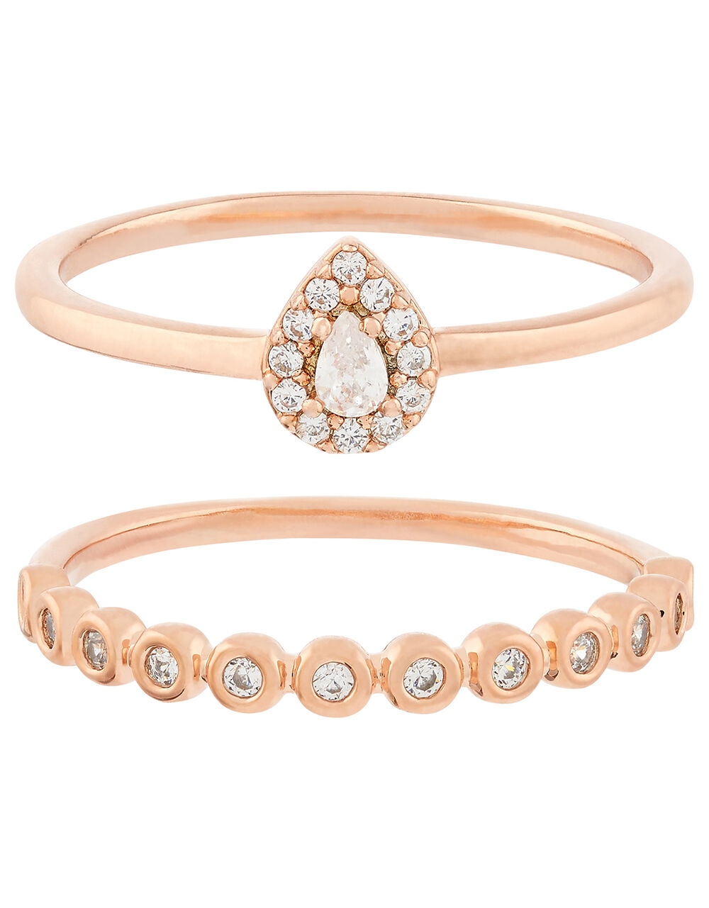 Rose Gold-Plated Sparkle Stacking Rings, Gold (ROSE GOLD), large
