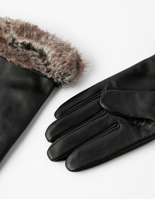 Faux Fur Trim Leather Gloves, Black (BLACK), large