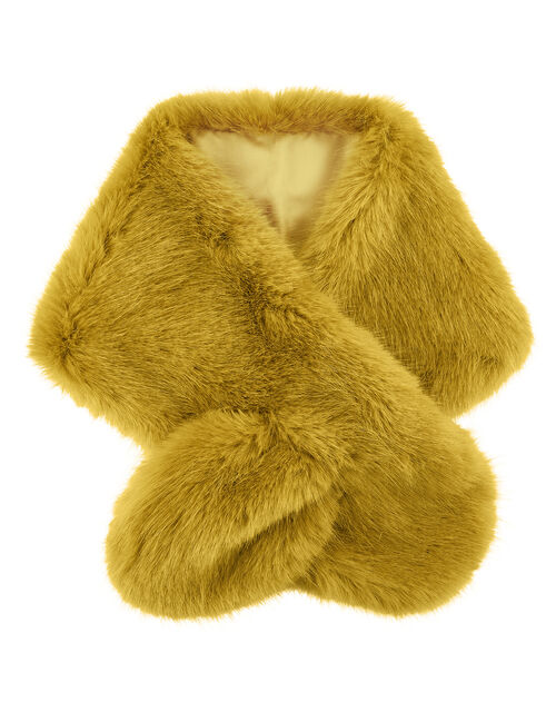 Faux Fur Tippet, Yellow (OCHRE), large