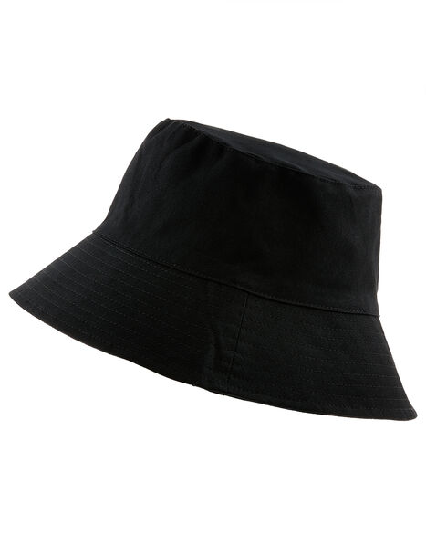 Utility Bucket Hat in Cotton Twill Black, Black (BLACK), large