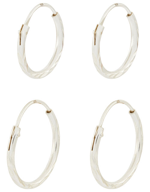 Sterling Silver Mini Diamond Cut Hoop Set, , large