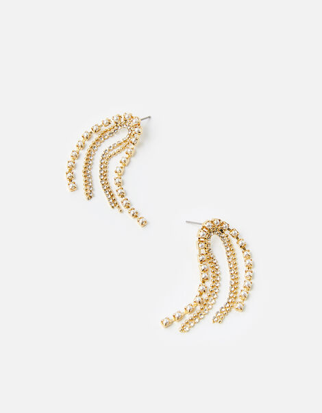 Pearly Cup Chain Waterfall Earrings, , large
