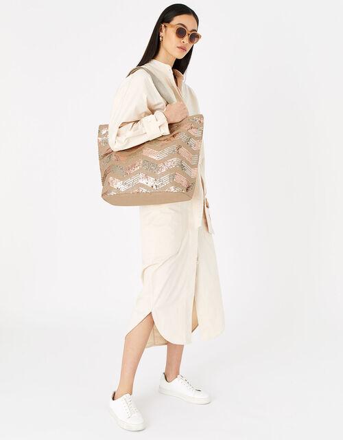Chevron Sequin Tote Bag, , large
