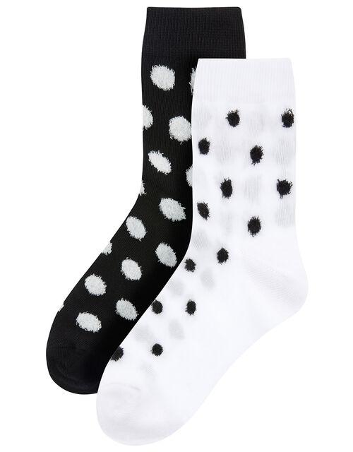 Fluffy Polka Dot Ankle Sock Set, , large