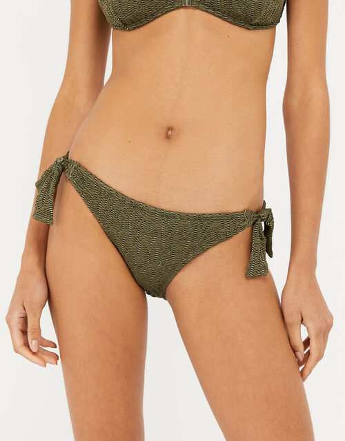 Textured Metallic Bikini Briefs, Green (KHAKI), large