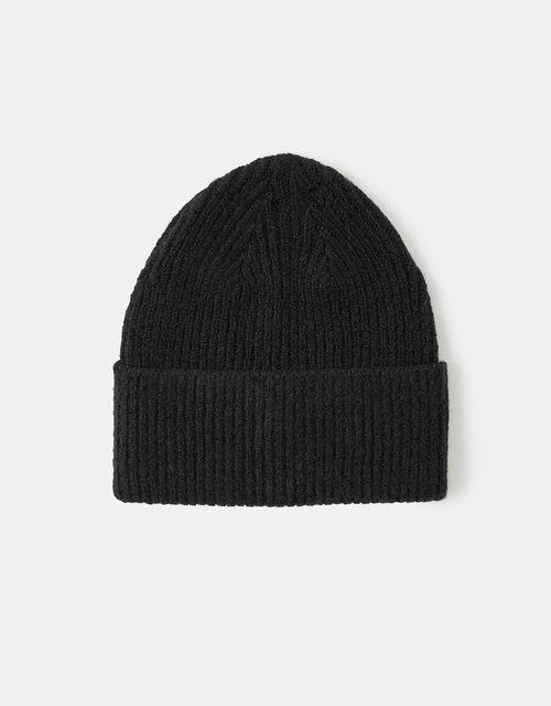 Soho Knit Beanie Hat, Black (BLACK), large