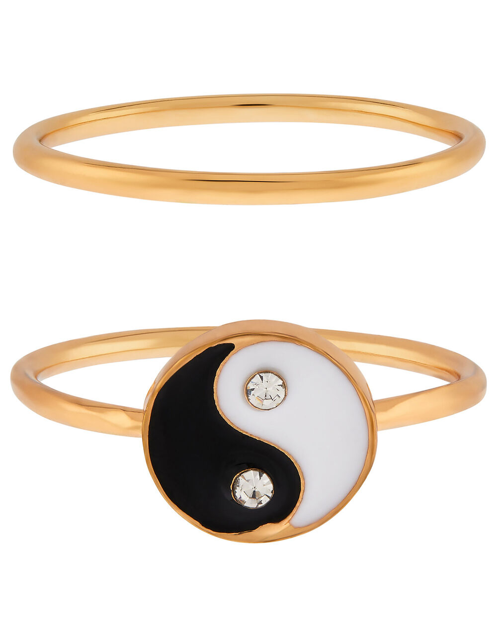 Yin and Yang Stacking Ring Set, Black (BLACK), large